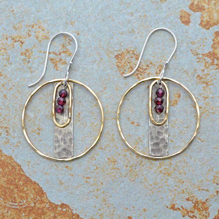 Encircled Garnets Mixed Metal Earrings