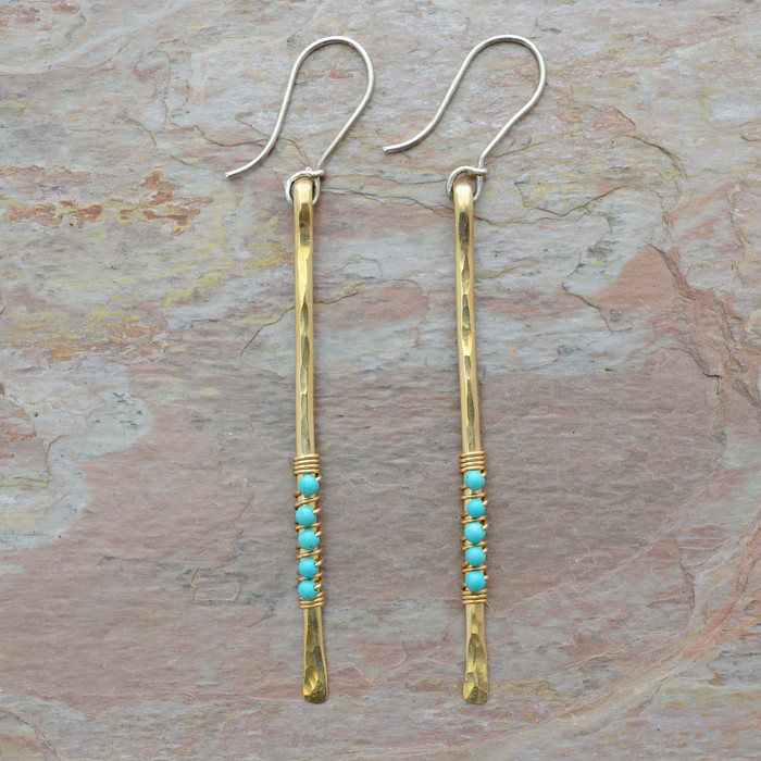 Turquoise Accented Gold Stem Earrings