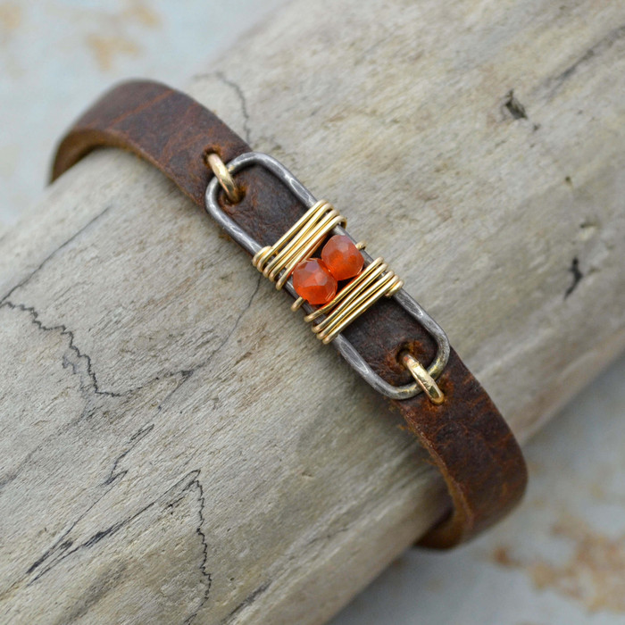Distressed Leather Framed Carnelian Bracelet