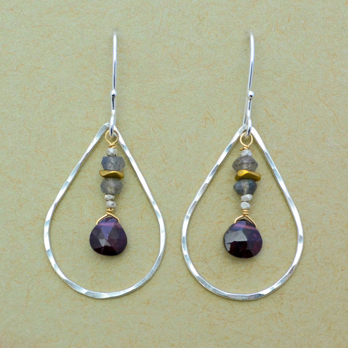 Garnets in Teardrops Earrings
