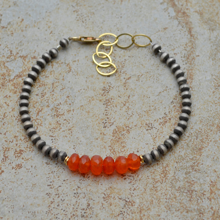 Faceted Carnelian Brushed Sterling Bracelet
