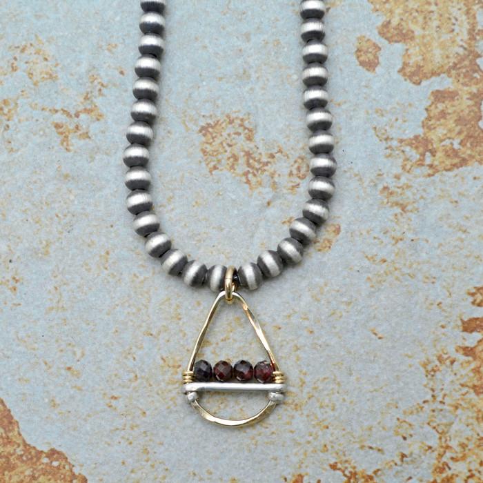 Golden Teardrop and Garnets Brushed Sterling Necklace