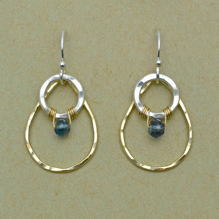 Wrapped Blue Topaz and Mixed Metal Teardrop Earrings