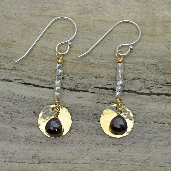 Trickling Garnets to the Sun Earrings