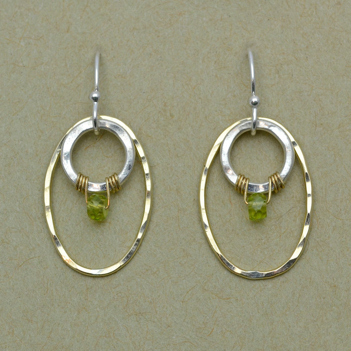 Mixed Metal and Wrapped Stone Earrings