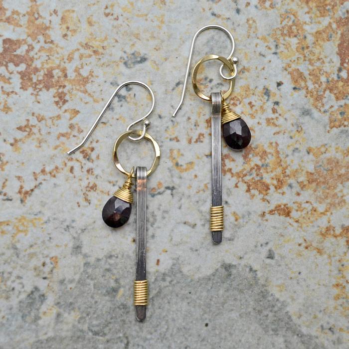Mixed Metal and Teardrop Garnet Earrings