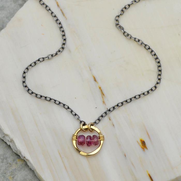 Gold Framed Tourmaline Necklace