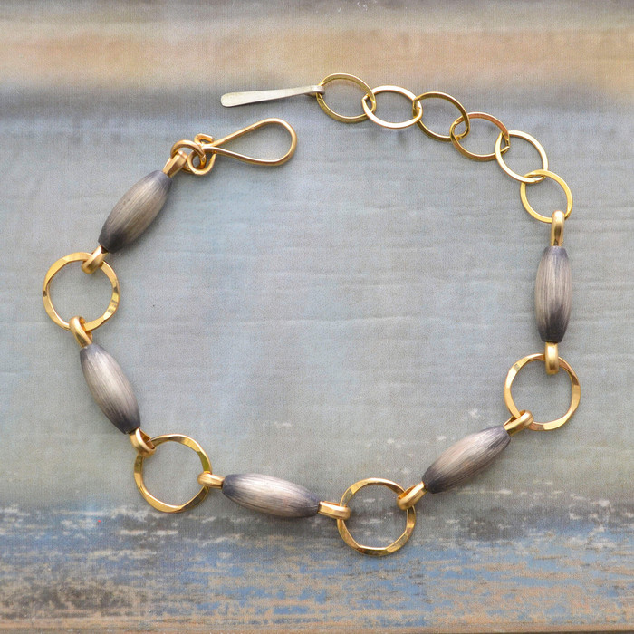 Brushed Sterling and Gold Circles Braclelet