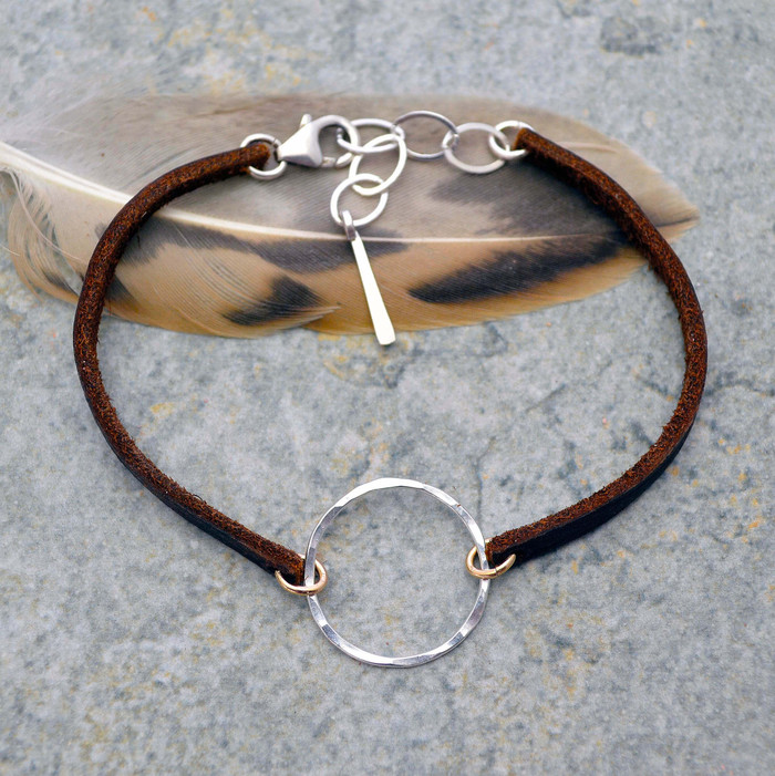 Full Moon Silver Circle and Leather Bracelet