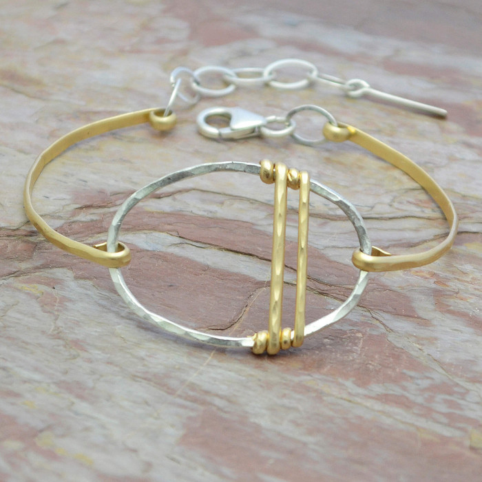 Traversing Gold Sterling Circle Bracelet