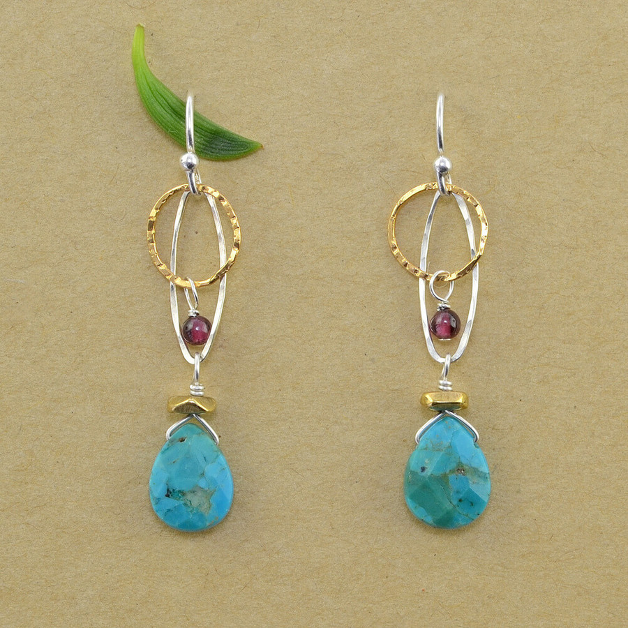 Handmade organic garnet and turquoise earrings: view 1