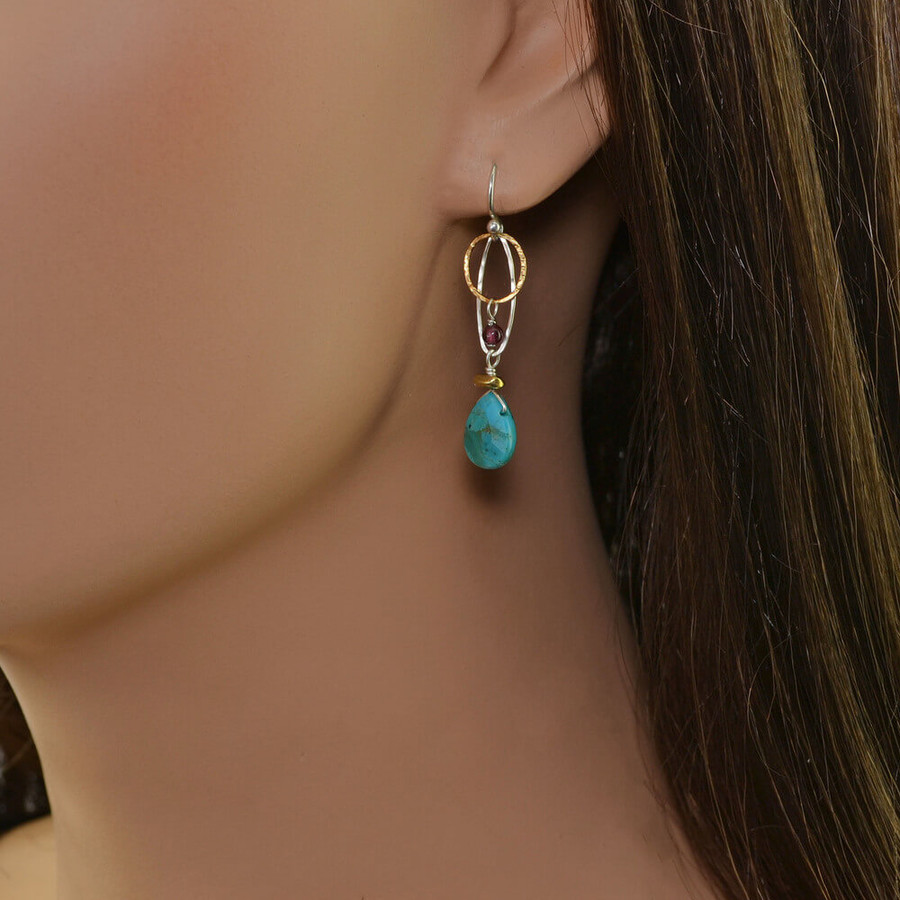 Handmade organic garnet and turquoise earrings: view 2