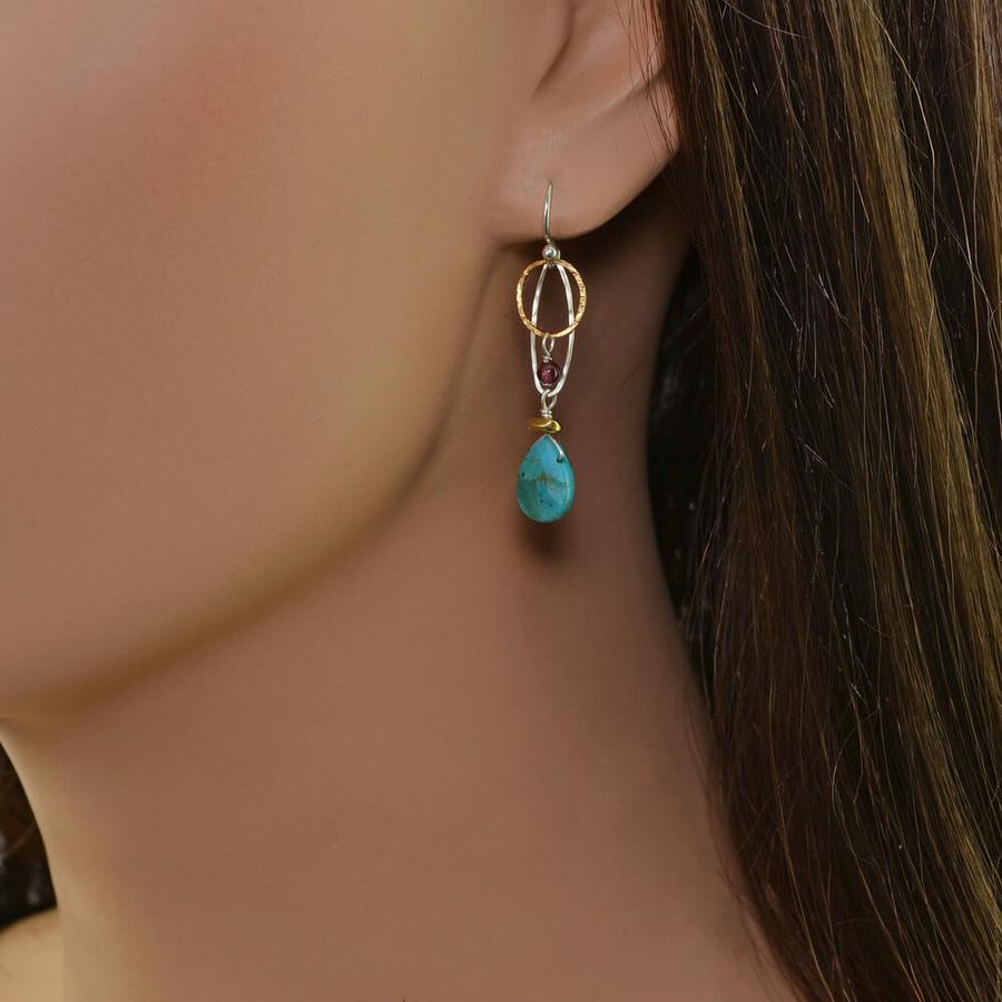 Handmade organic garnet and turquoise earrings: view 2
