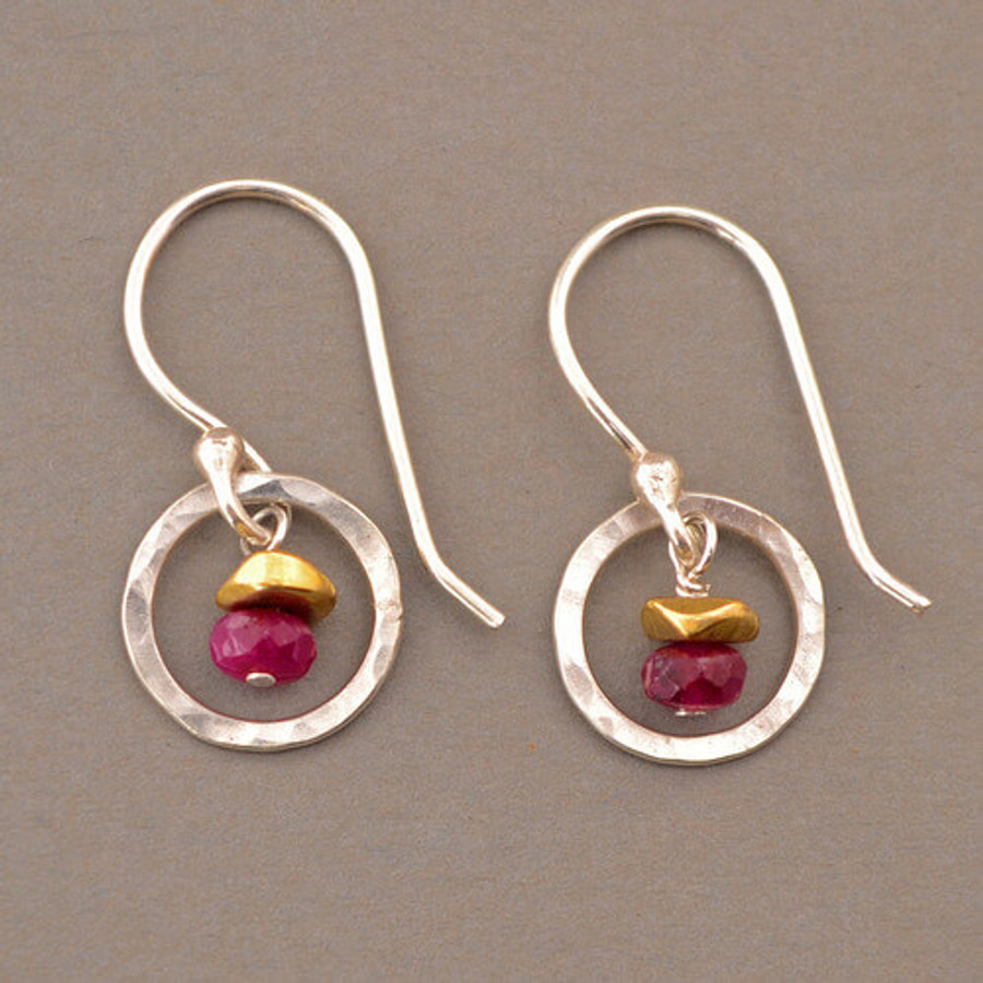 Petite Circle Silver and Gemstone Earrings with Multiple Stone Options