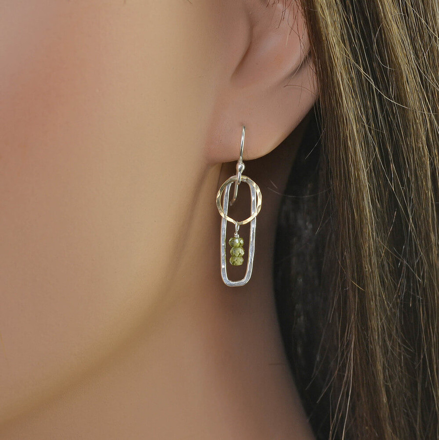 Accented in Gold Sterling Framed Earrings