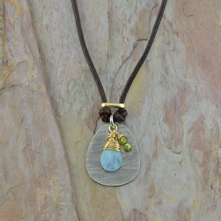 Handcrafted chalcedony and green garnet necklace: view 1