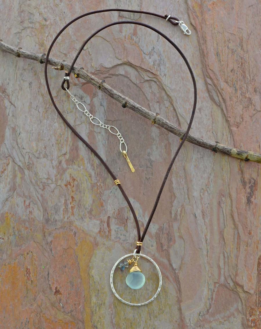 Chalcedony & Labradorite teardrop necklace: view 2