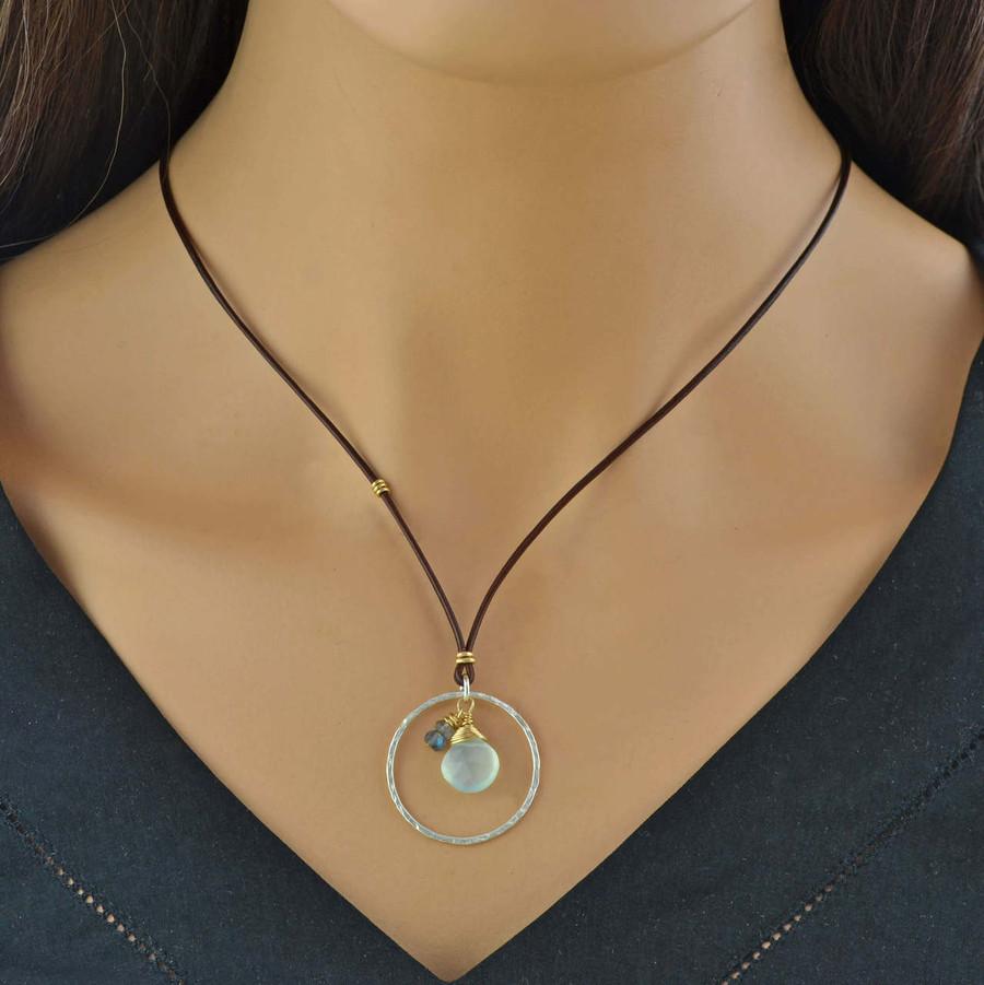 Chalcedony & Labradorite teardrop necklace: view 3