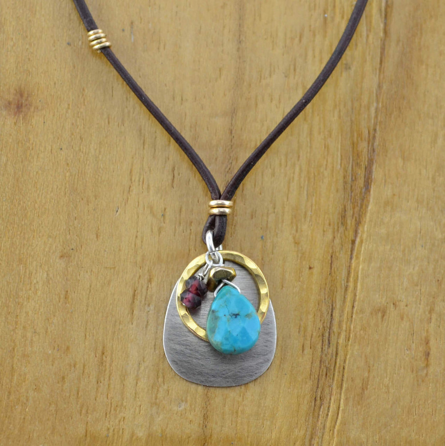 gold leather turquoise teardrop necklace: view 1