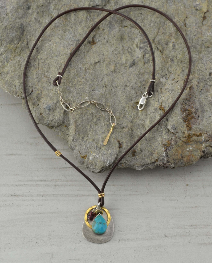 gold leather turquoise teardrop necklace: view 2