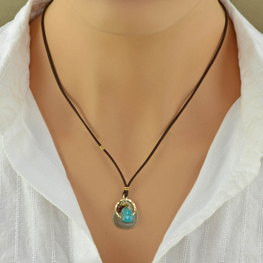 gold leather turquoise teardrop necklace: view 3