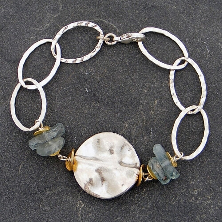 Handcrafted sterling silver and aquamarine bracelet