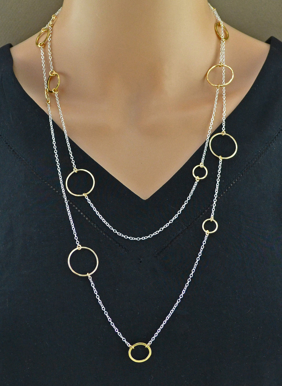Shimmering Multilayer Sterling Silver Necklace Chain: view 1
