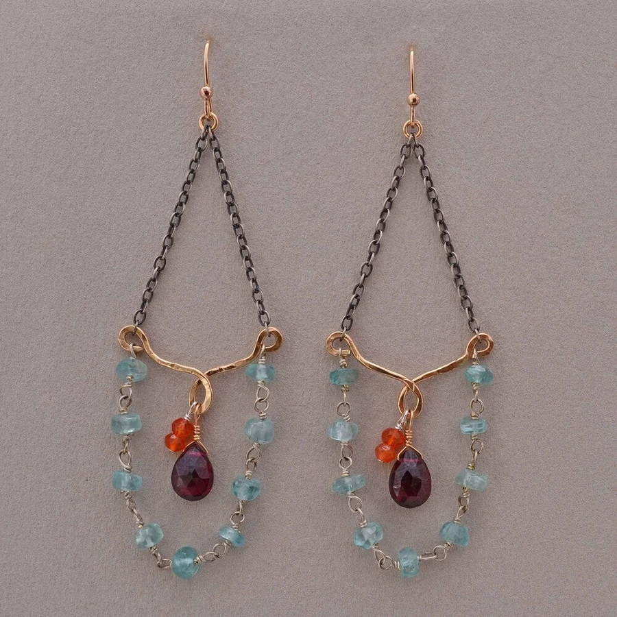 Artisan jubilee earrings made with oxidized sterling chain