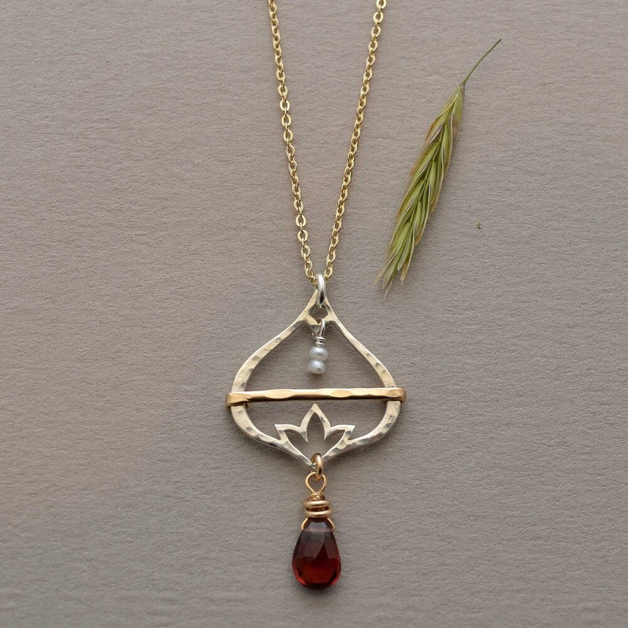 Sterling Silver Lotus Flower Necklace : view 1