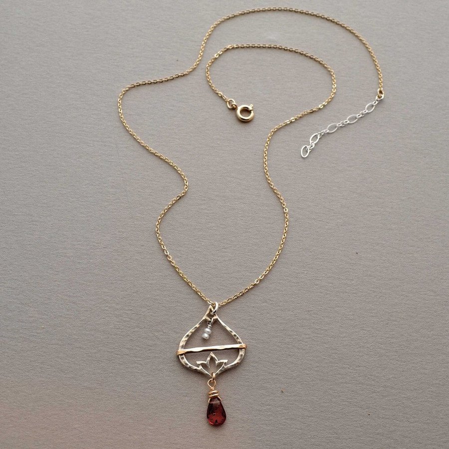Sterling Silver Lotus Flower Necklace : view 2