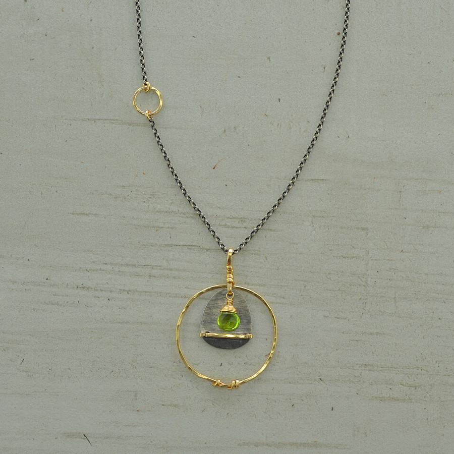 Circled Peridot Necklace
