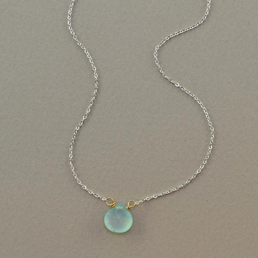 floating handmade gemstone necklace with chalcedony stone