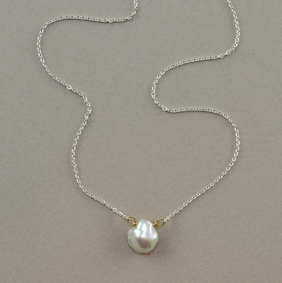floating handmade gemstone necklace with pearl
