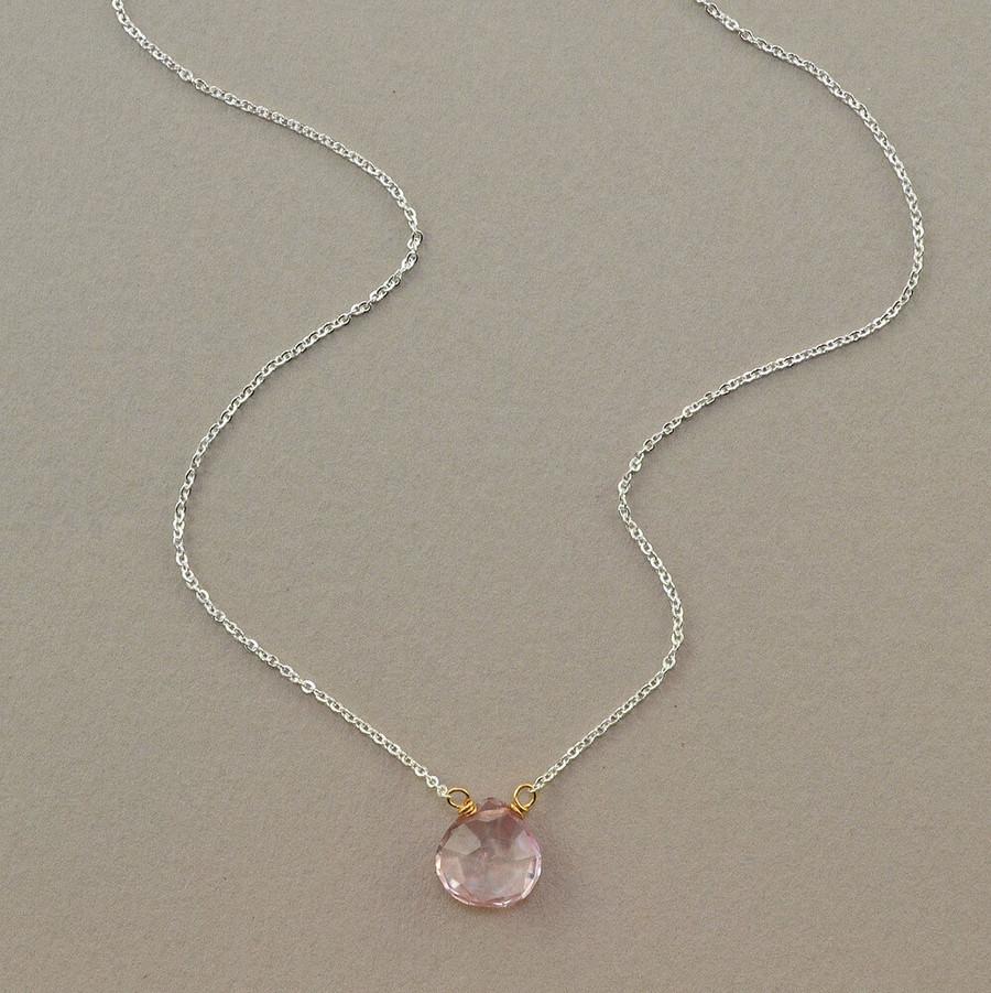 floating handmade gemstone necklace with rose quartz