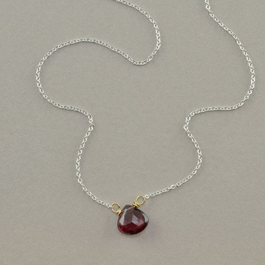 floating handmade gemstone necklace with garnet stone
