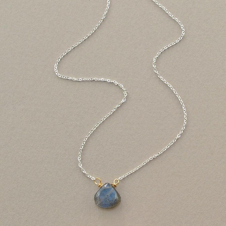 floating handmade gemstone necklace with labradorite stone