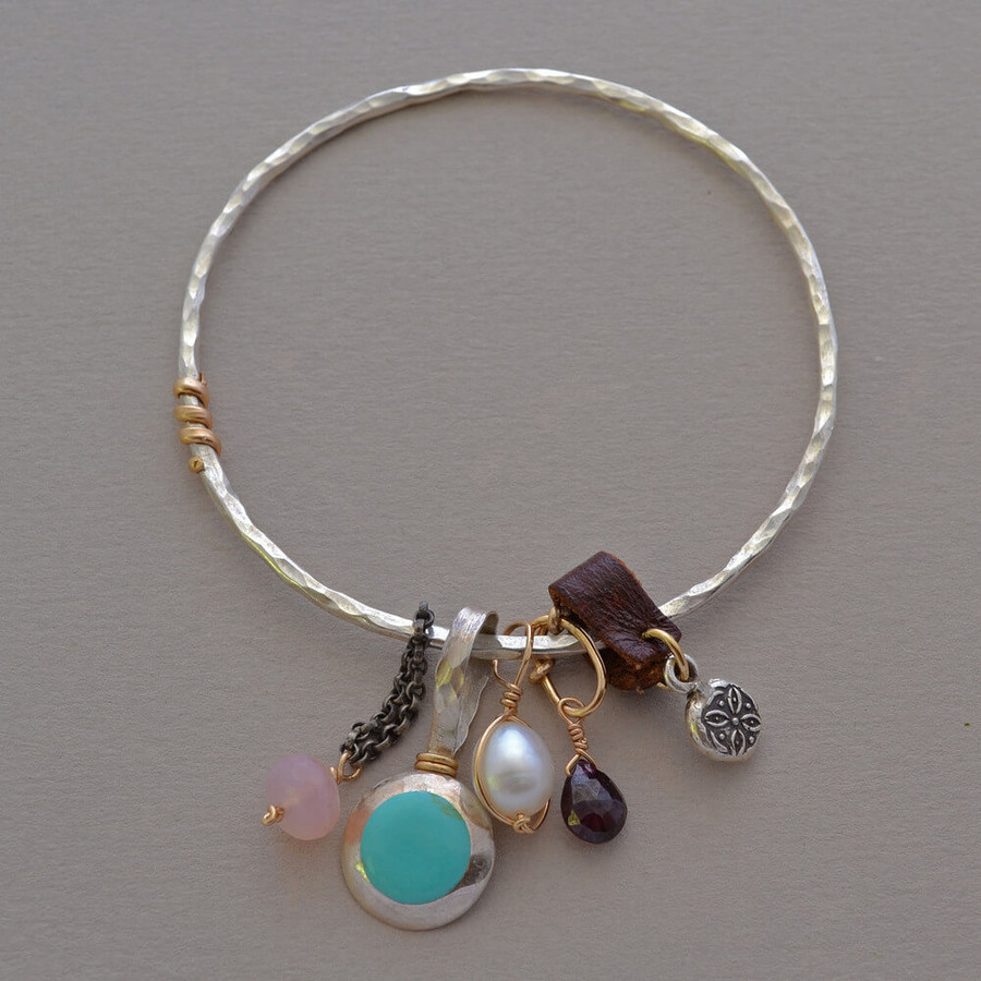 handmade unique charm bracelets with multiple hand wrapped gemstones