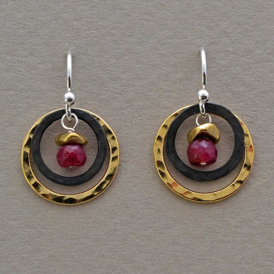 handcrafted double hoop ruby earrings