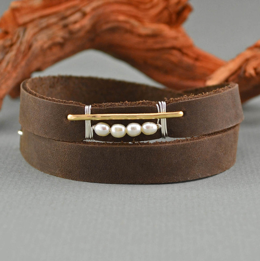 Handmade leather bracelet cuff with four luminous pearls wrapped with 14kt gold filled wire: view 1