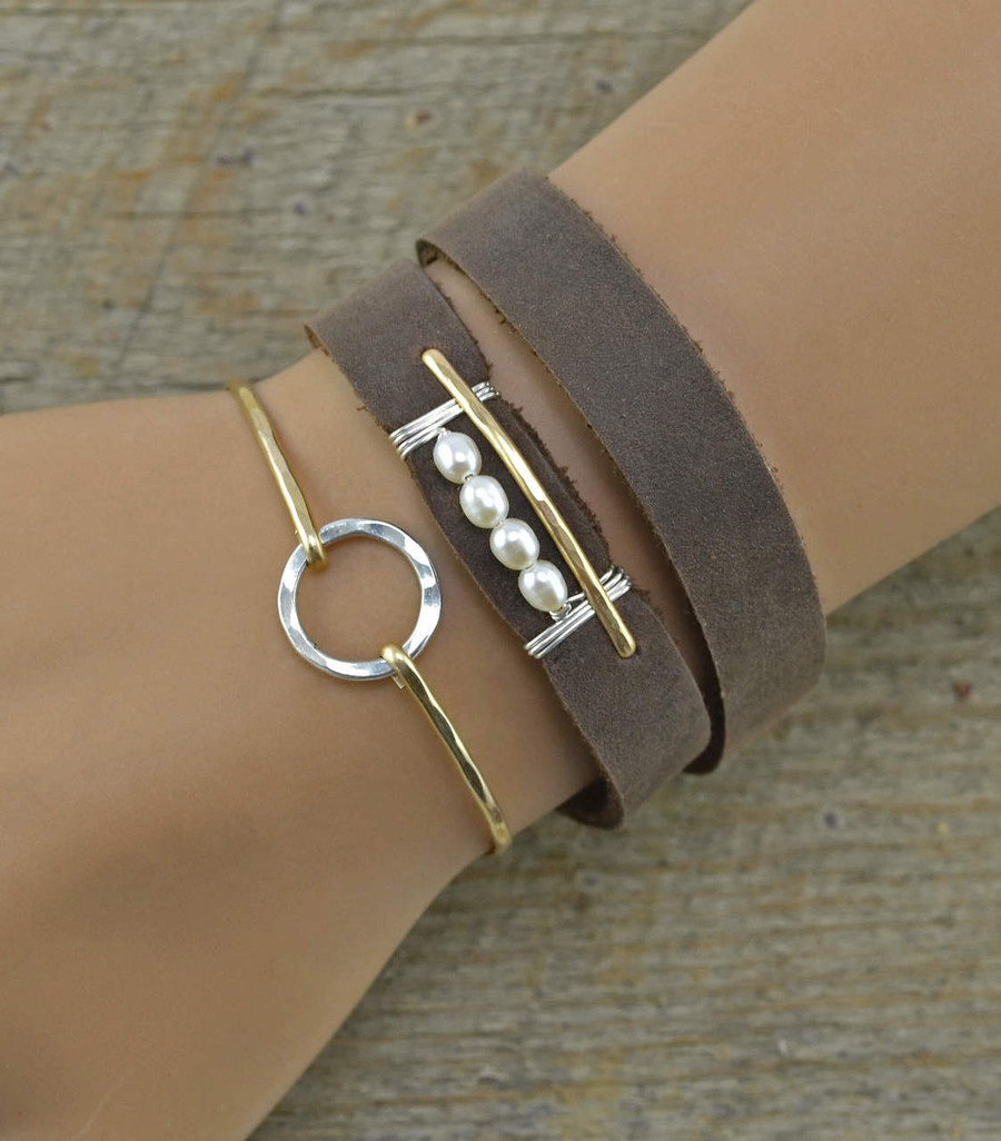 Handmade leather bracelet cuff with four luminous pearls wrapped with 14kt gold filled wire: view 2