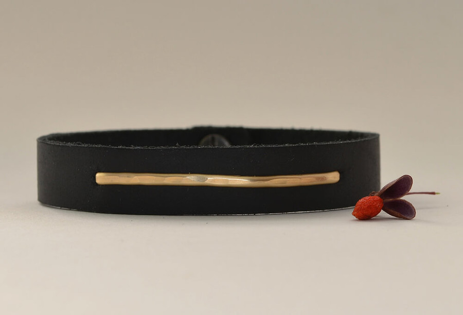 Handmade linear gold leather cuff bracelet with a 14kt gold filled linear plate