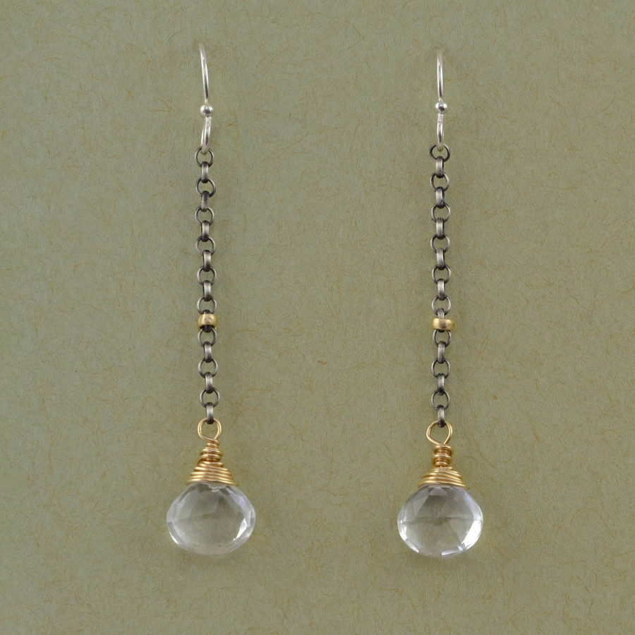 handmade dangle earrings with faceted crystal quartz: view 1