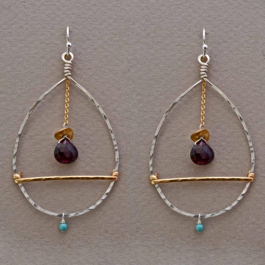 Unique handmade garnet teardrop earrings with 14kt gold filled sterling silver