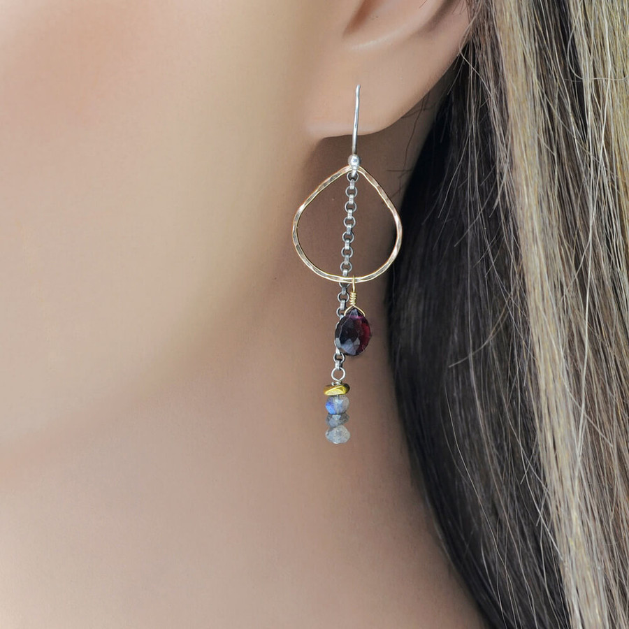 Unique handcrafted dew drop earrings with various gemstones and gold filled sterling silver: view 2