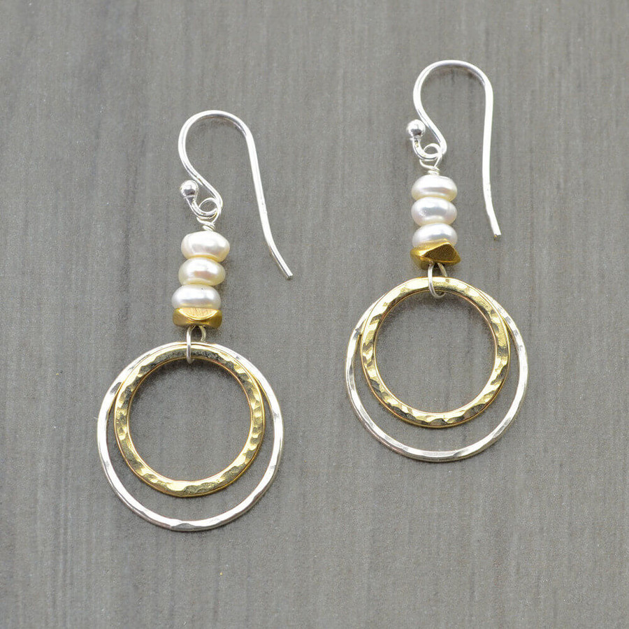 Unique handmade sun and moon earrings made with double hoop and freshwater pearls: view 1