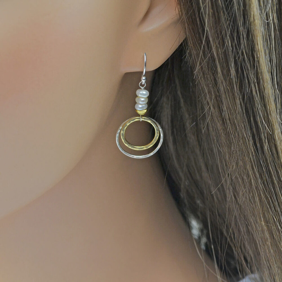 Unique handmade sun and moon earrings made with double hoop and freshwater pearls: view 2
