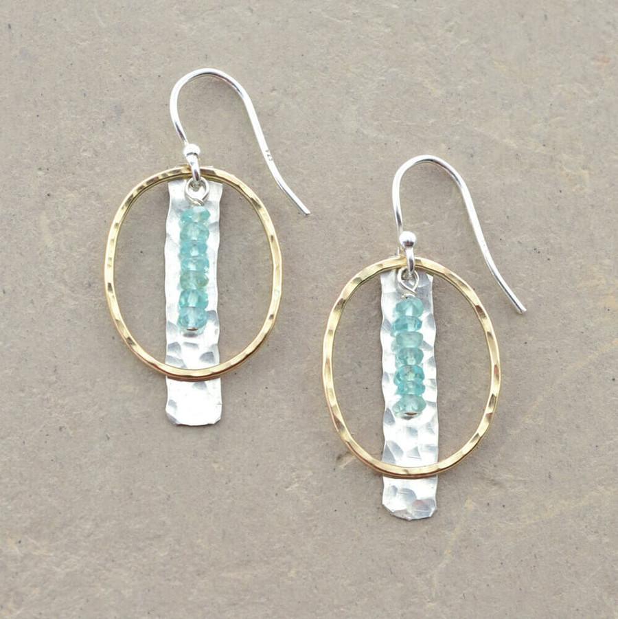 Handmade artistic earrings embellished with aquamarine gemstones and gold loop: view 1