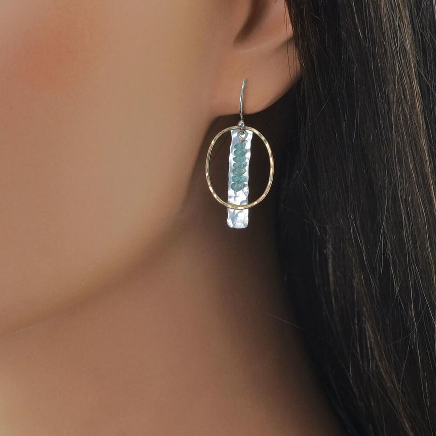 Handmade artistic earrings embellished with aquamarine gemstones and gold loop: view 2