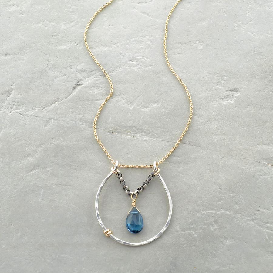 handmade blue topaz necklace: view 1