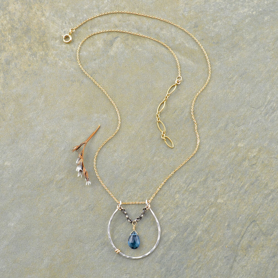 handmade blue topaz necklace: view 2